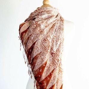 Scarf shawl wrap 100% silk Copper & Cream Fringed